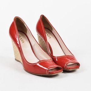 Prada Red Patent Peep Toe Espadrille Wedges NWOT
